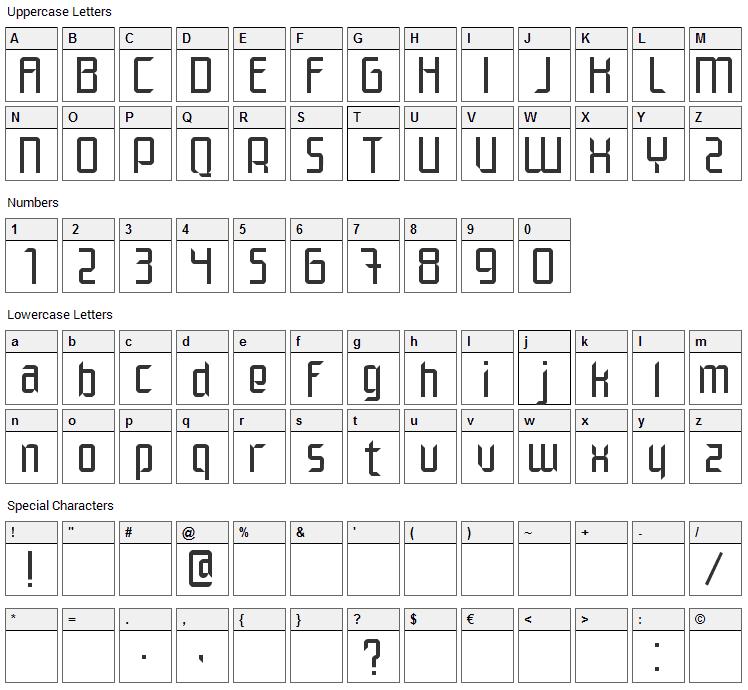 Elegante Font Character Map