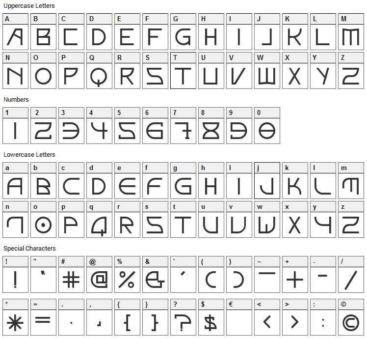 Elektora Font Character Map