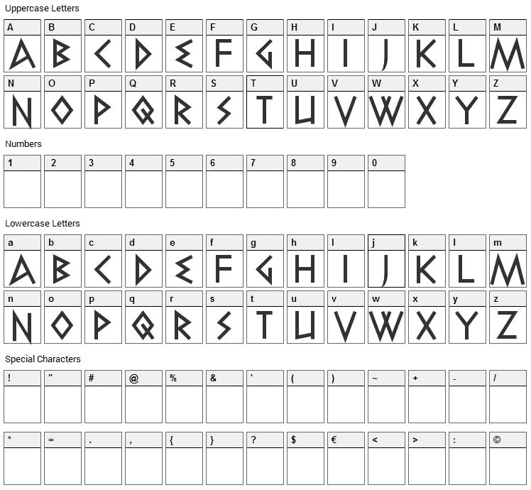 Elektra Font Character Map