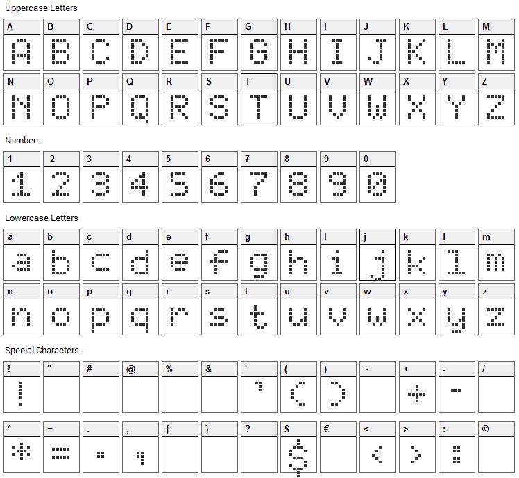 Elektra SH Font Character Map