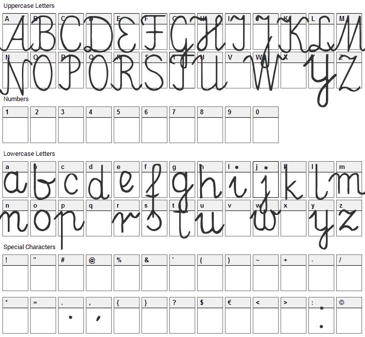 Elementarz Font Character Map