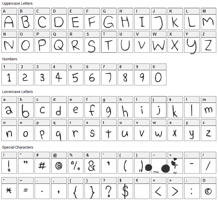 Elephant Hiccups Font Character Map