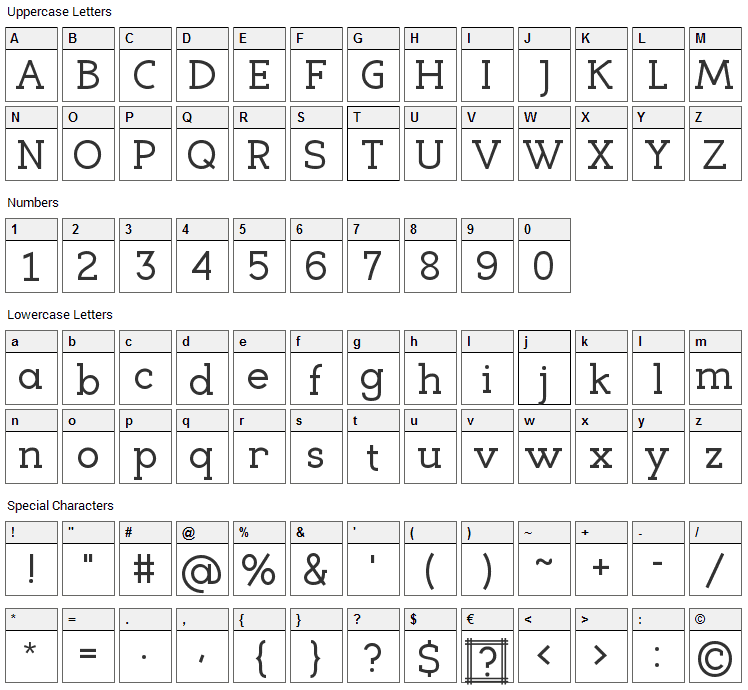 Eligible Font Character Map