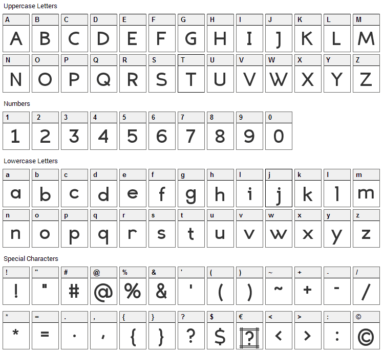 Eligible Sans Font Character Map