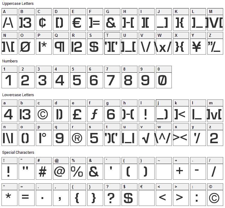 Elite Font Character Map