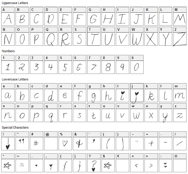 Elizajane Font Character Map