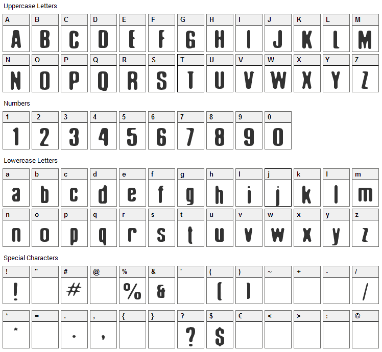 Elliot Swonger Font Character Map