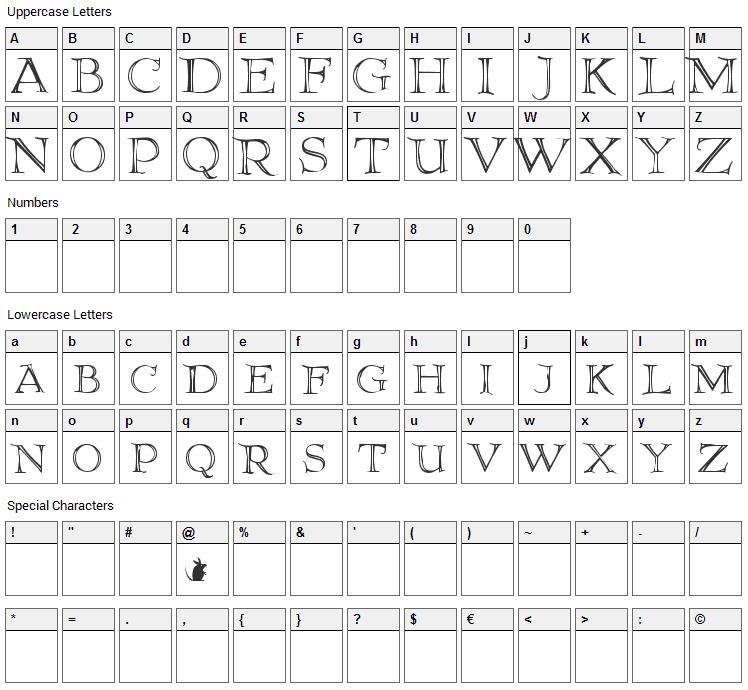 Elliottland J Font Character Map