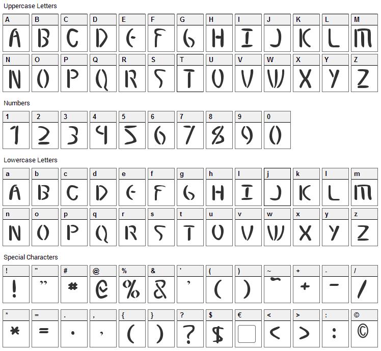 Elminster Font Character Map