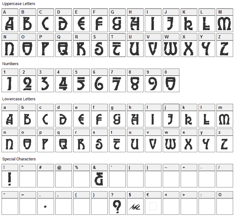 Elric Font Character Map