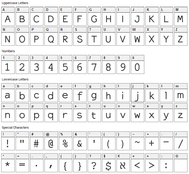 ElroNet Monospace Font Character Map