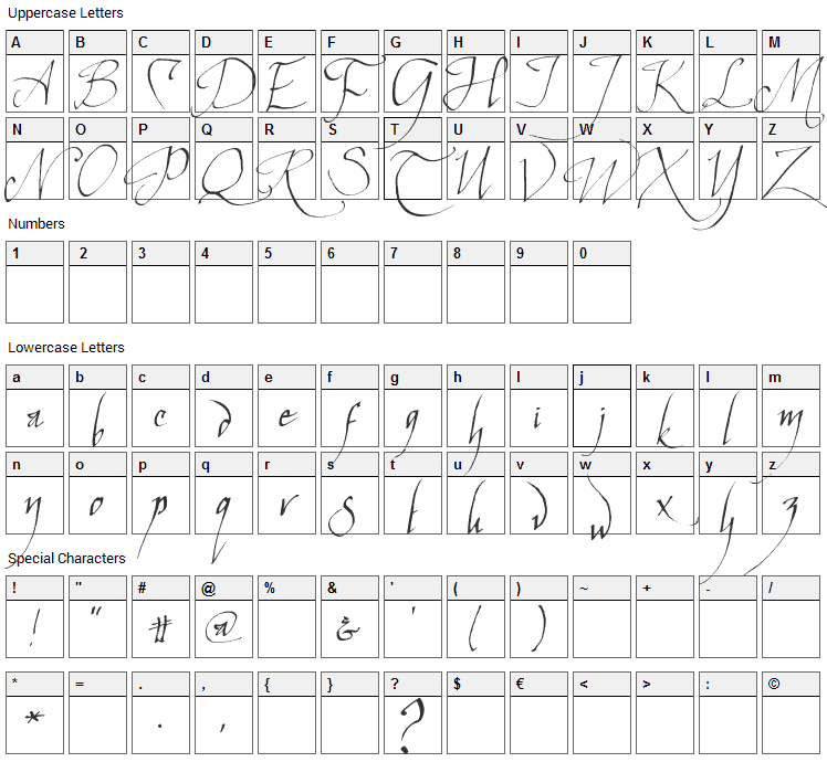 Elven Common Speak Font Character Map