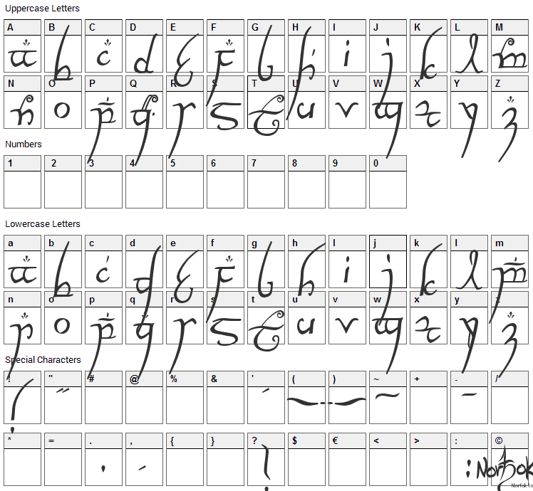 Elvish Ring Font Character Map