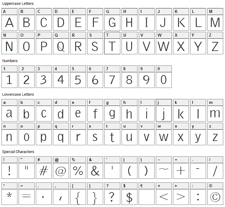 Emka Sans Condensed Font Character Map