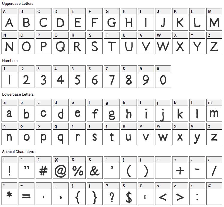 Emma Sophia Font Character Map
