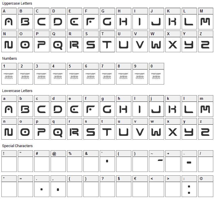 Emophonic Font Character Map