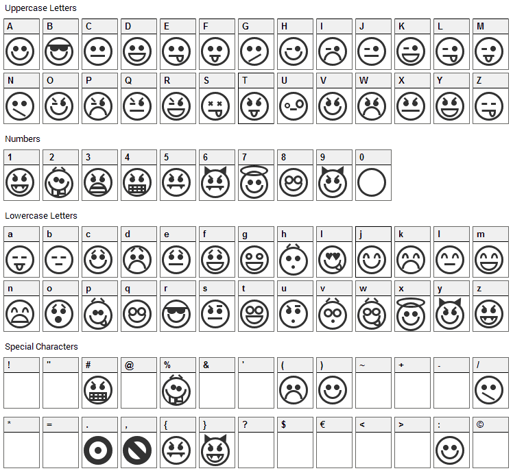 Emoticons Font Character Map