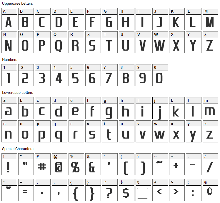 Emotion Engine Font Character Map