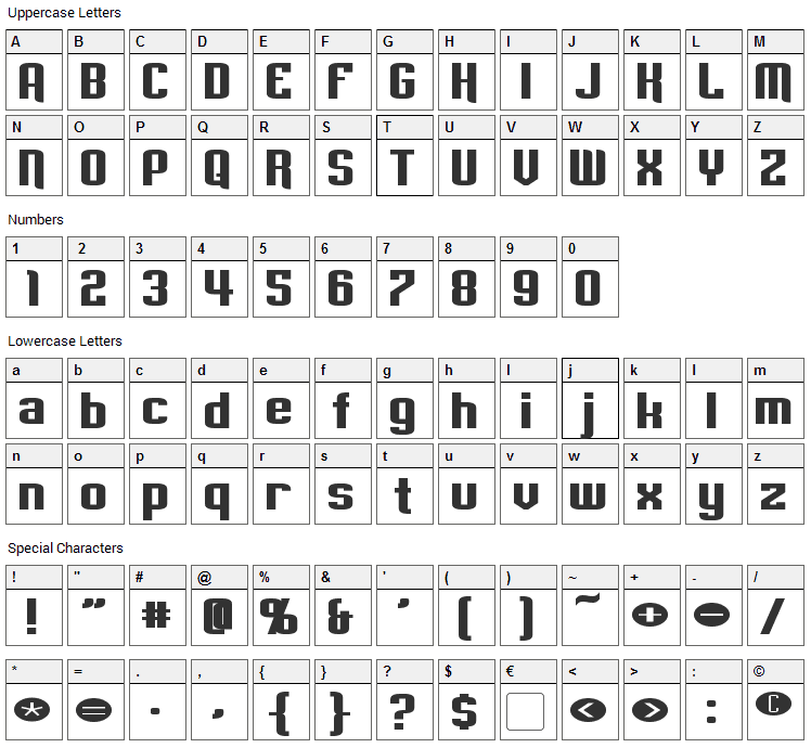 Empanada Font Character Map