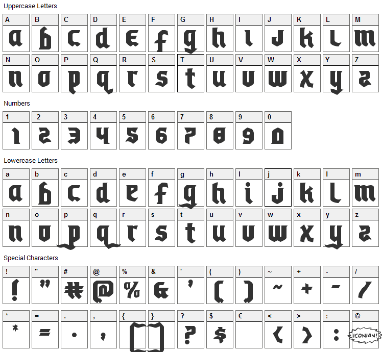 Empire Crown Font Character Map