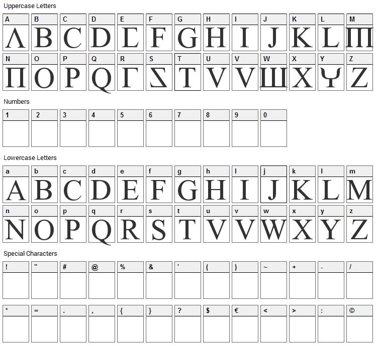 Empiric Roman Font Character Map