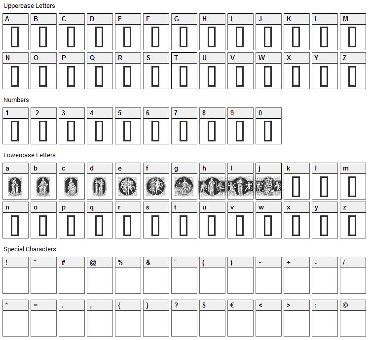 En Klassisk Maaned Font Character Map