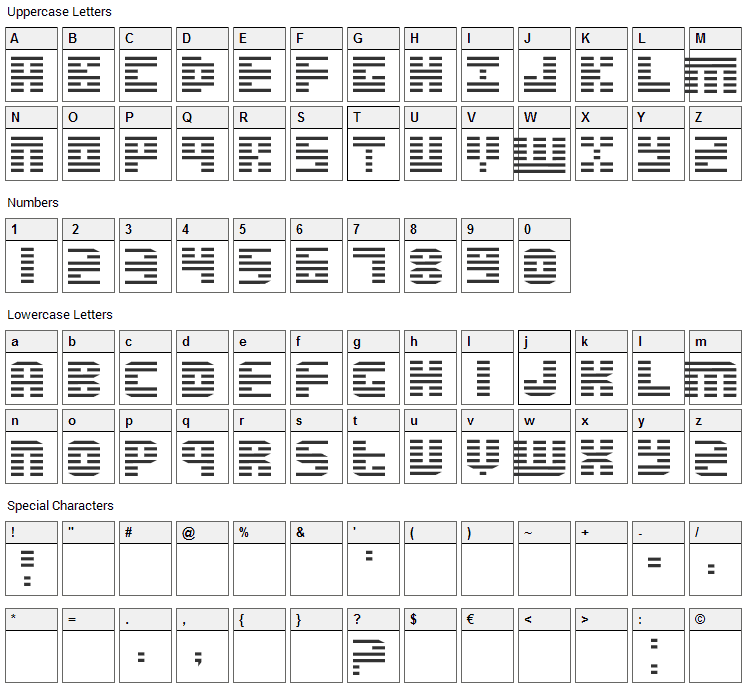Enduro Font Character Map