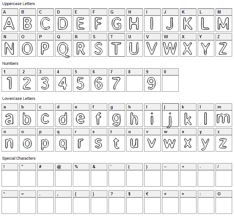 Enema Font Character Map