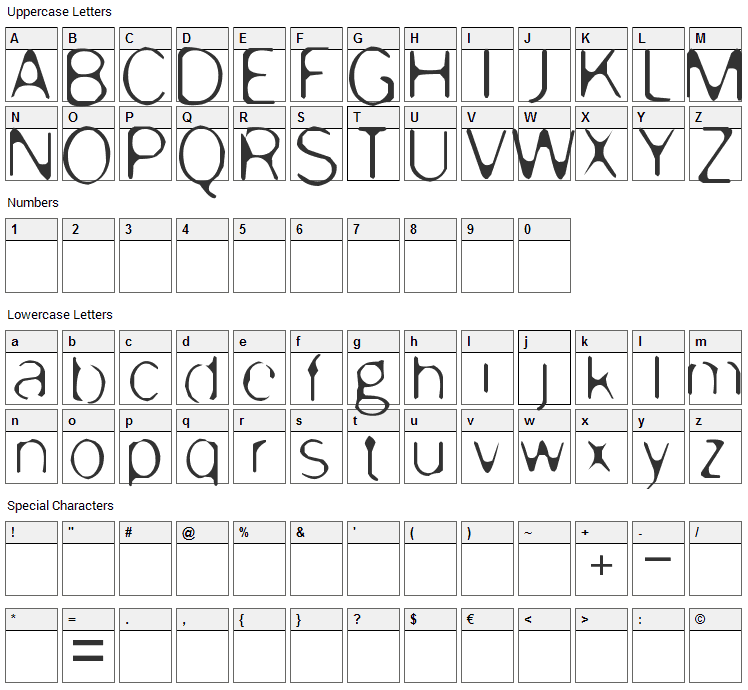 Enervate Font Character Map