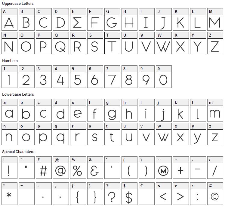 Engcarnation Font Character Map