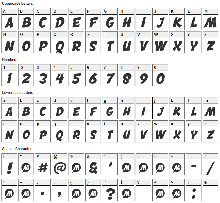 Engcomica Font Character Map