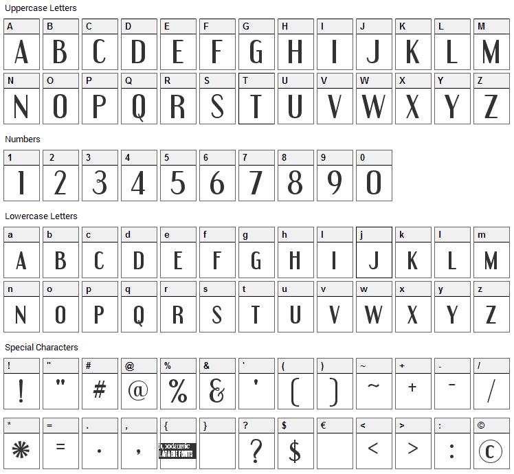 Engebrechtre Font Character Map