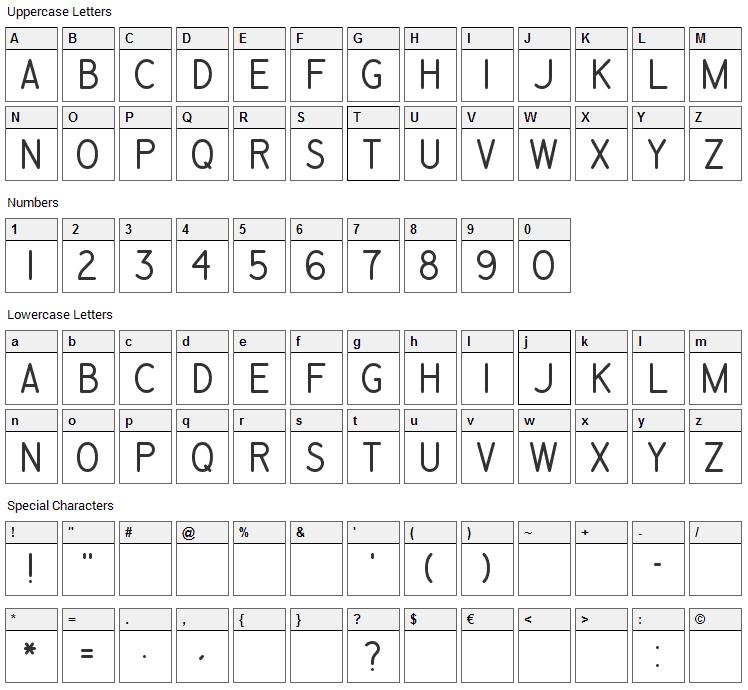 Engineering Plot Font Character Map