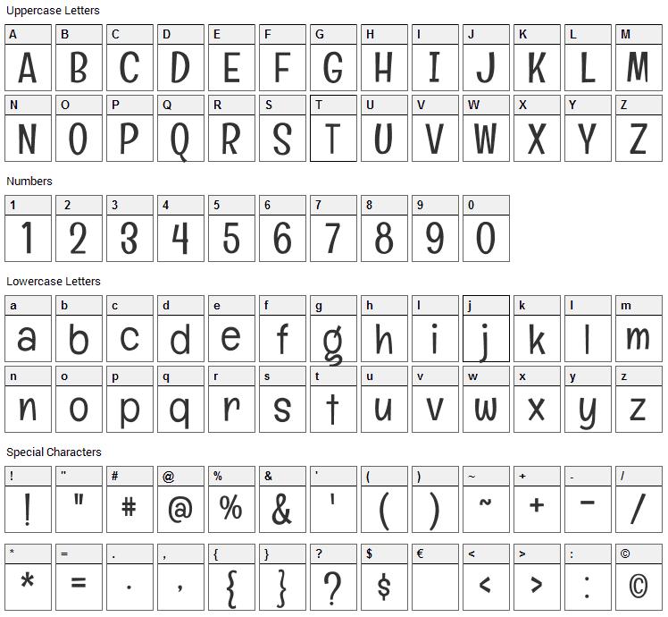 Englebert Font Character Map