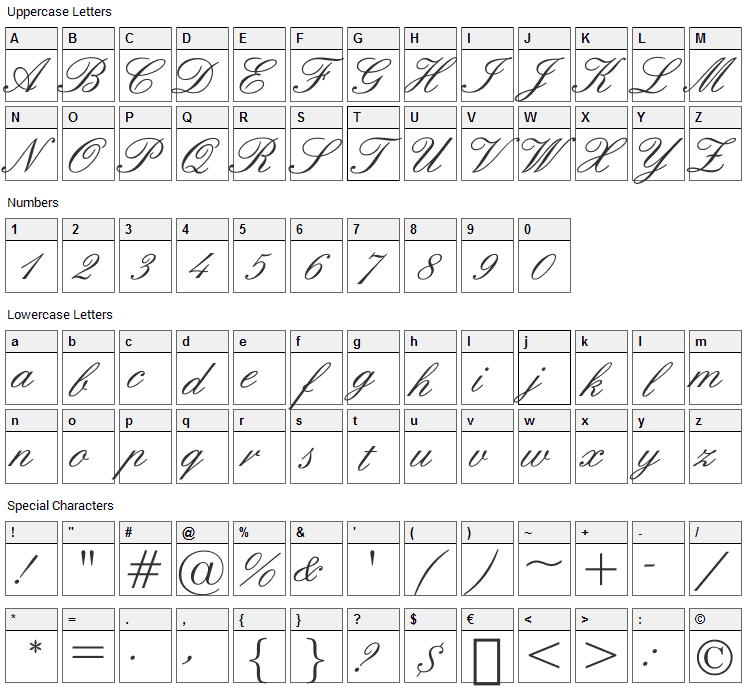 English Font Character Map