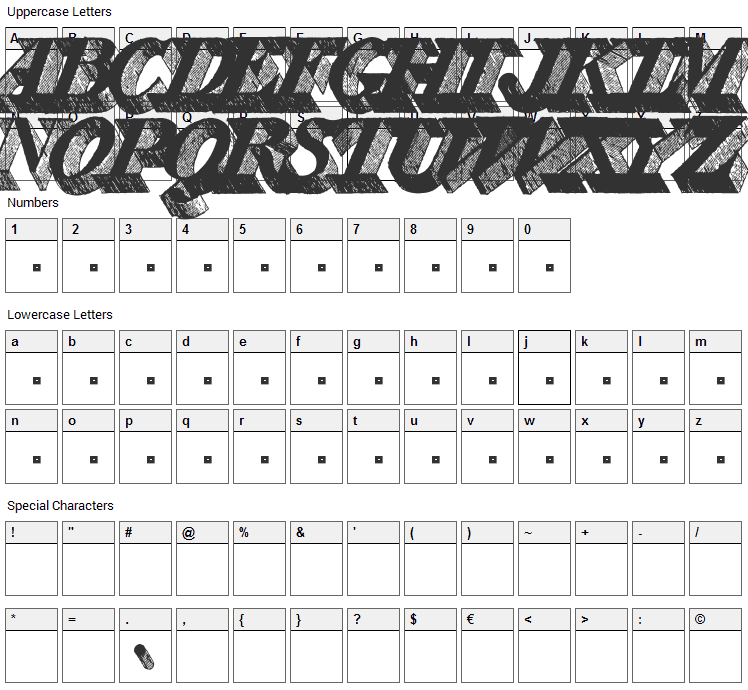 Engravier Initials Font Character Map