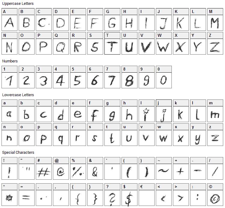 Ennui Font Character Map