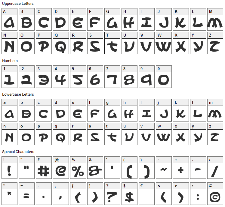 Ephesian Font Character Map
