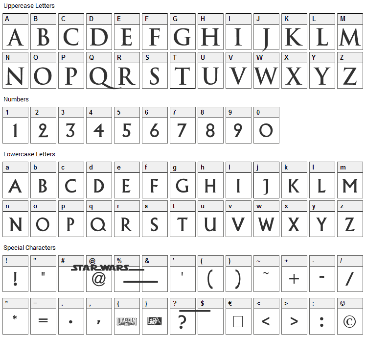 Episode 1 Font Character Map