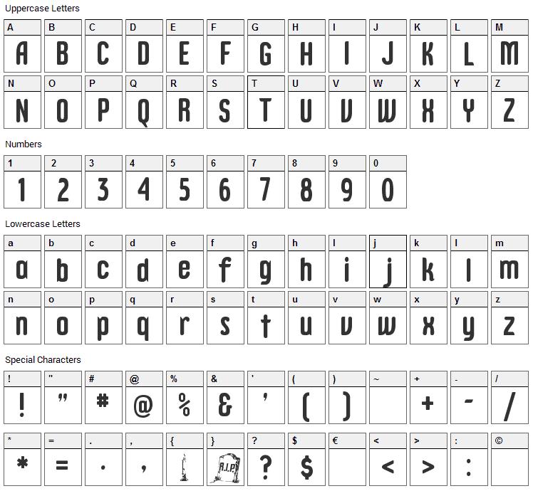 Epitough Font Character Map