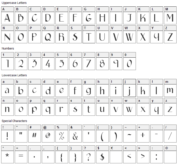Epittazio Font Character Map