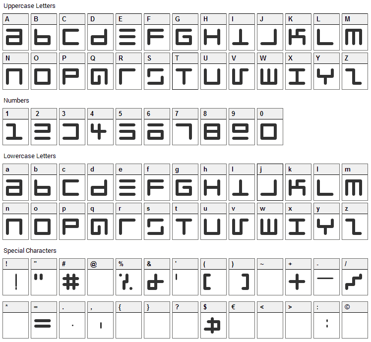 Eppy Evans Font Character Map