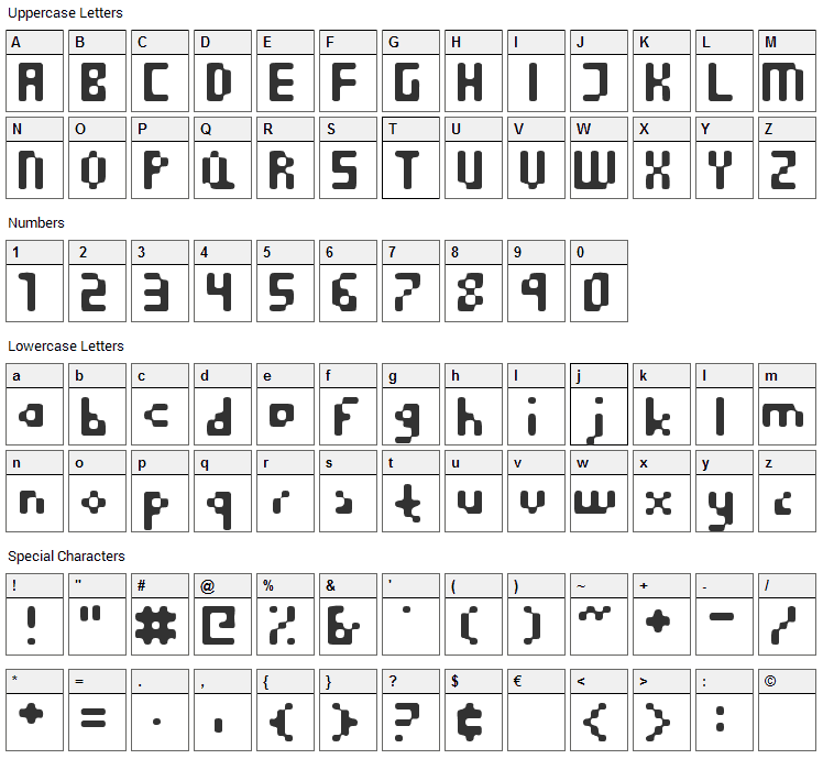 Equilibrium Font Character Map