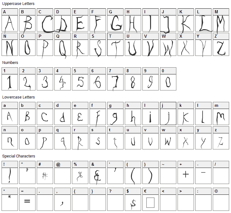 Eradicate Font Character Map
