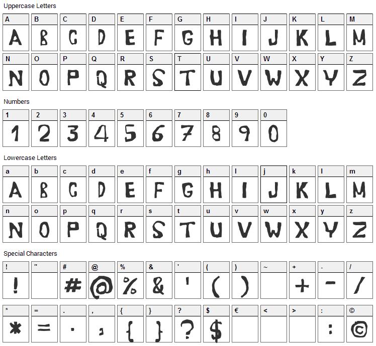 Erasaur Font Character Map