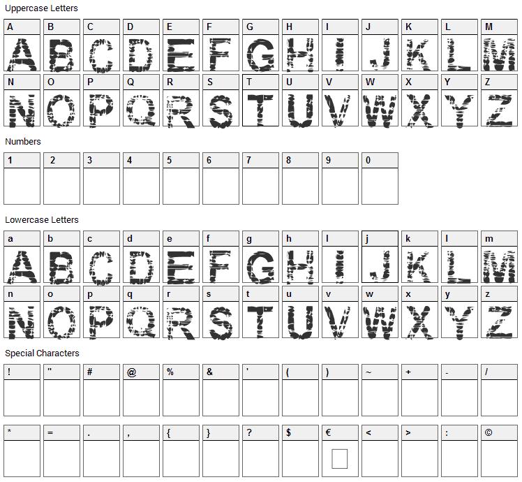 Eraser Font Character Map