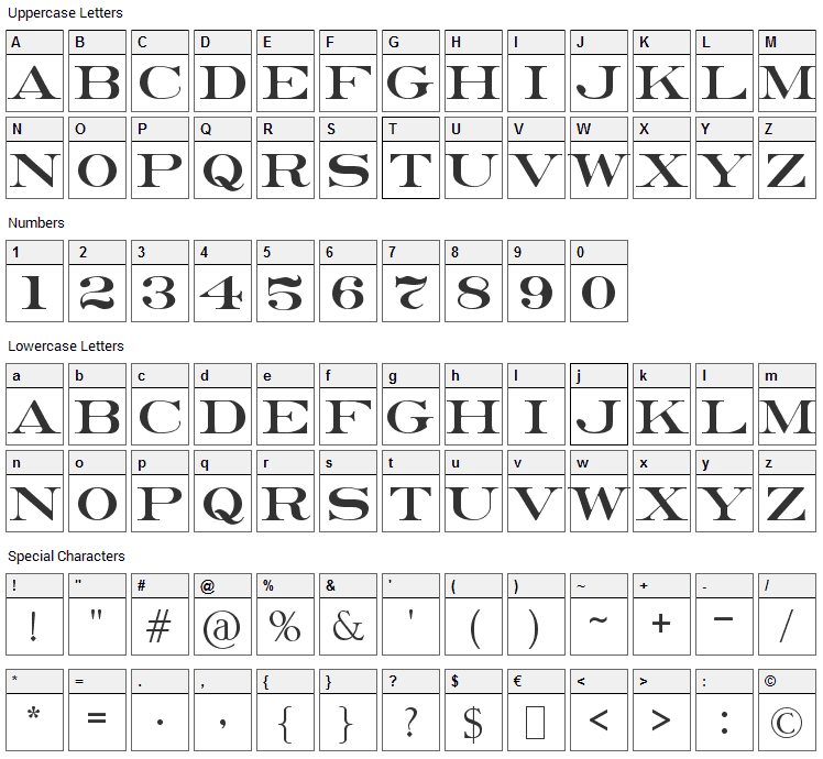 Erie Roman Font Character Map