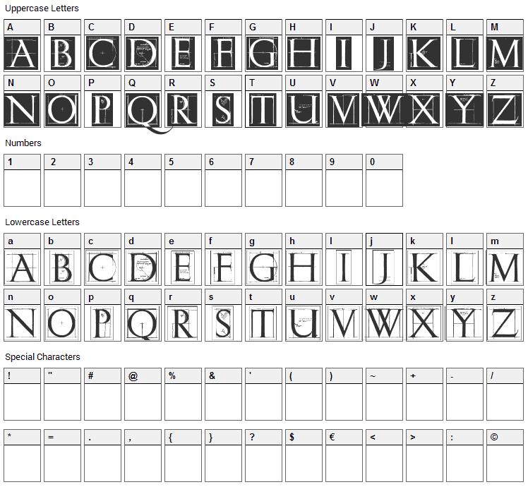 ErikGCaps Font Character Map