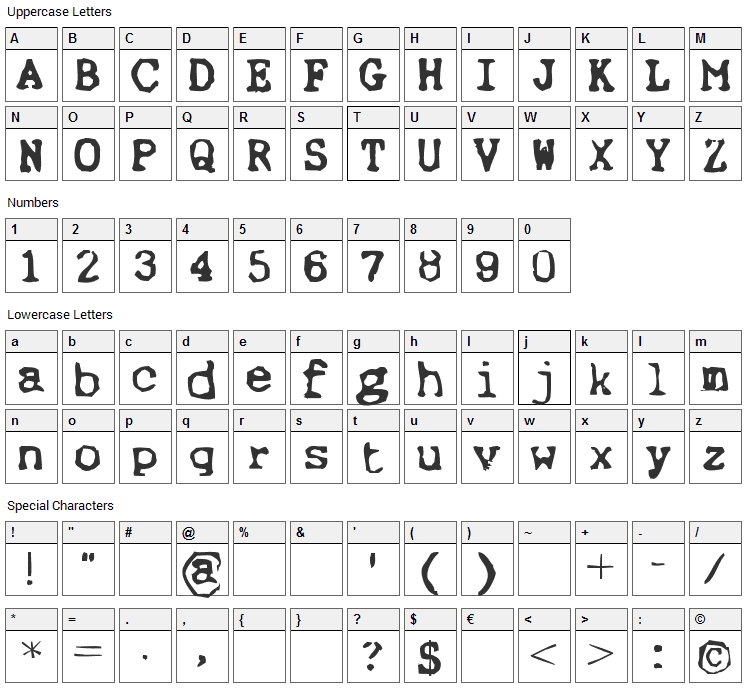 Ernst Font Character Map
