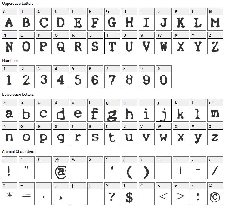 Ernst Font Character Map